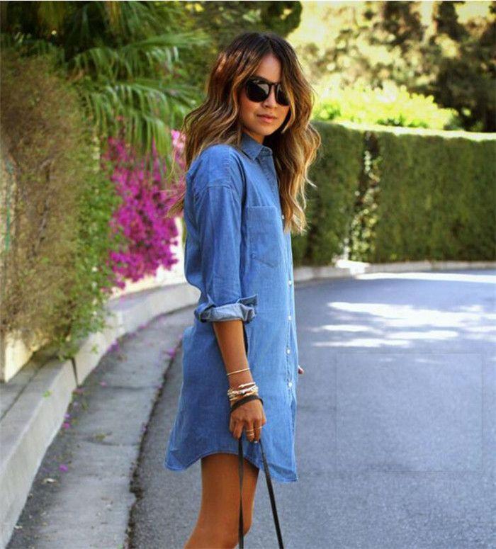 women denim dress casual loose long sleeved T shirt dresses plus size M172