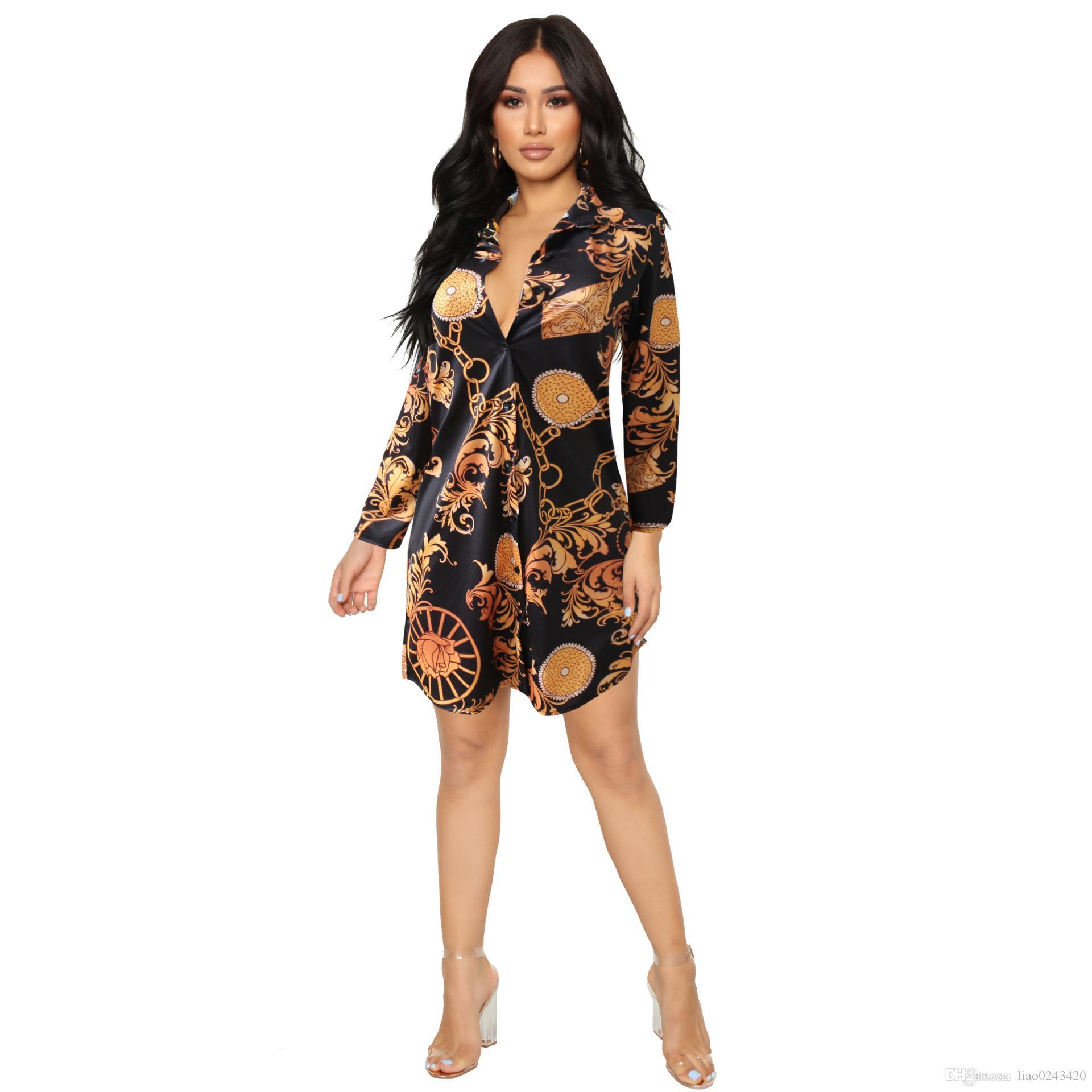 34f6457b96d Свободный корабль женщины Сексуальная стенд воротник золотой цепи печати  рубашки платья повседневная Slim Fit мини-платье клуб Party Wear Dress XXXL  плюс