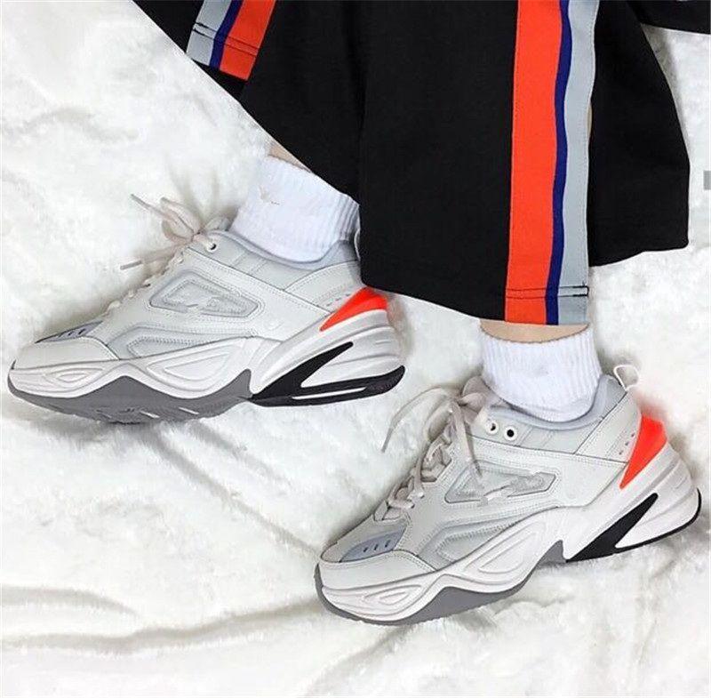 buy online 52b20 33afd 2018 New M2K Tekno Air Monarch Women Mens Designer Running Shoes Designer  Pink Foam Phantom Oil Metallic Silver Hyper Crimson Sneakers 36 46 Kids  Running ...
