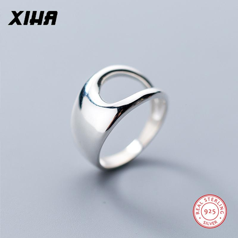 XIHA 925 Sterling Silver Rings For Women Size 6 7 8 Geometric Hollow Wide  Ring Fashion Silver 925 Jewelry Valentines Day Gift UK 2019 From  Linzicheng a7f213d79