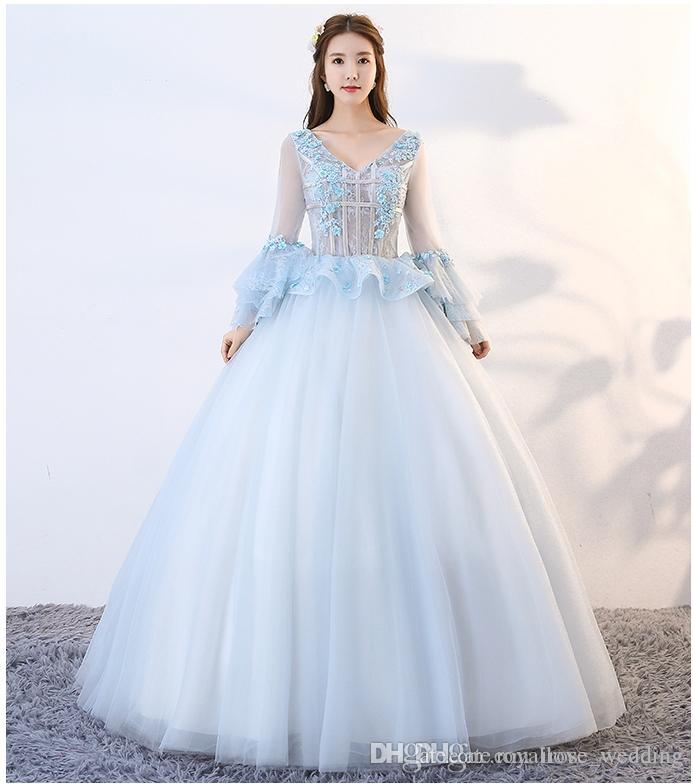 ff6a3e7eb3ab9 Elegant Sky Blue Ball Gown Evening Dress Sexy V Neck 3D Floral Appliques Illusion  Long Bell Sleeve Peplum Floor Length Tulle Prom Dress Black Dress Dresses  ...