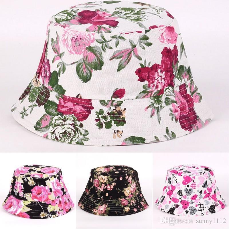 5d9fc6205e787e Fashion Bucket Hat for Men Women Hot Floral Sunhat Outdoor Travel ...