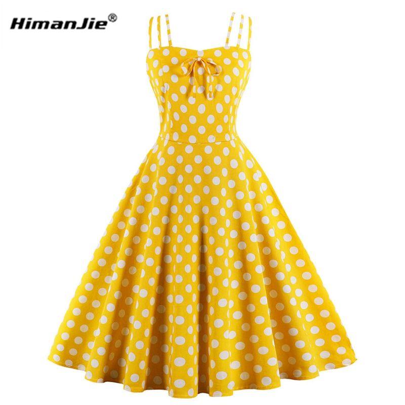 c93d1e353f2d3 Femmes D été Hepburn Robes jaune Robe Rétro En Coton Robes Vintage Années  50 Années 60 Rockabilly Pin Up Polka Dot Swing