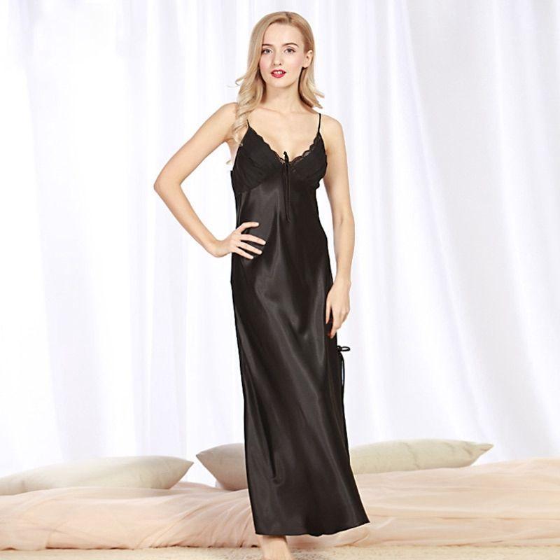Night Dress Girls Sleepwear Women Long Nightgown V Neck Nightwear Sexy  Lingerie Faux Silk Satin Night Dress Nighty Plus Size S923 Ladies Sexy  Underwear ... 27050e72e