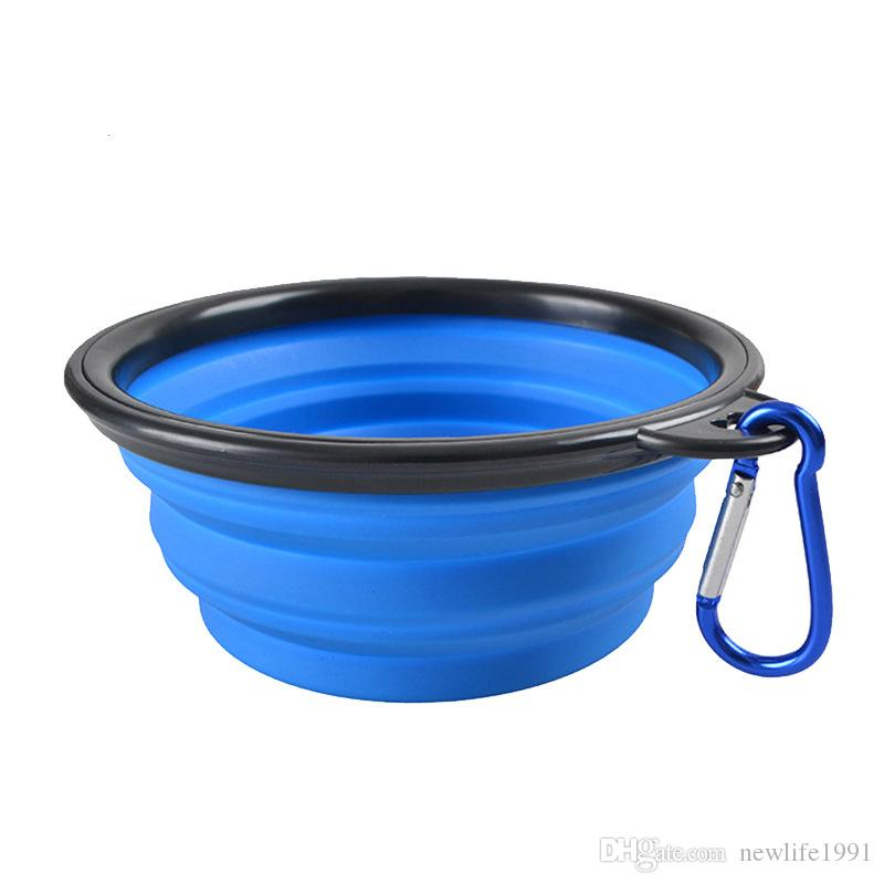 Collapsible Pet Silicone Bowl Outdoor Folding Dog Cat Bowls Water Bowl Puppy Cute Lovely Colorful Flying Frisbee
