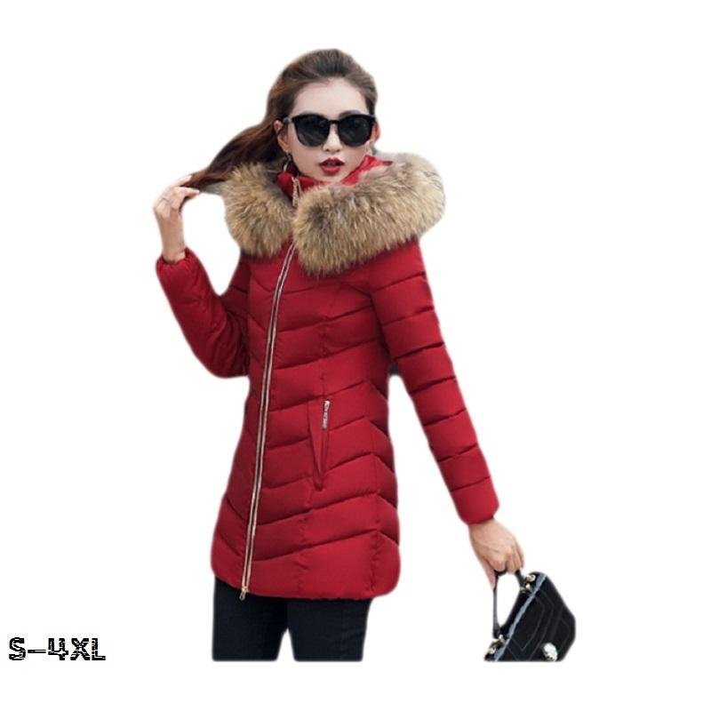 Winterjacke Frauen Mode 2018 Parkas mujer neuen langen Mantel weibliche Jacke dicken Hut Kragen großen Pelzkragen Damen Wintermäntel S18101505