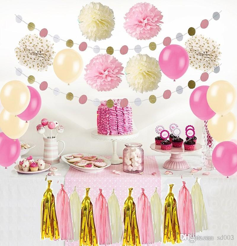 Black Gold Balloon Paper Flower Ball Diy Flag Banner Color Round Piece Birthday Party Decoration Supplies 36 27dm Cc Kids Decorations