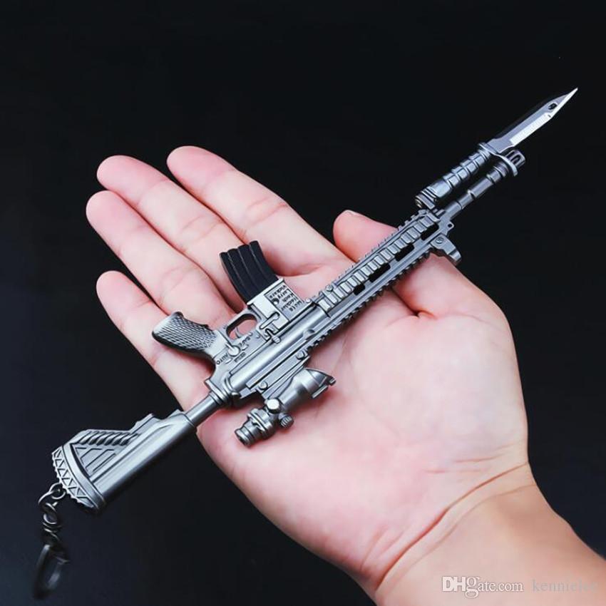 Groshandel Spiel Pubg Mm M Bajonett Gewehr Modell Mm Playerunknown Schlachtfelder Cosplay Kostume Requisiten Legierung Rustung Schlusselanhanger