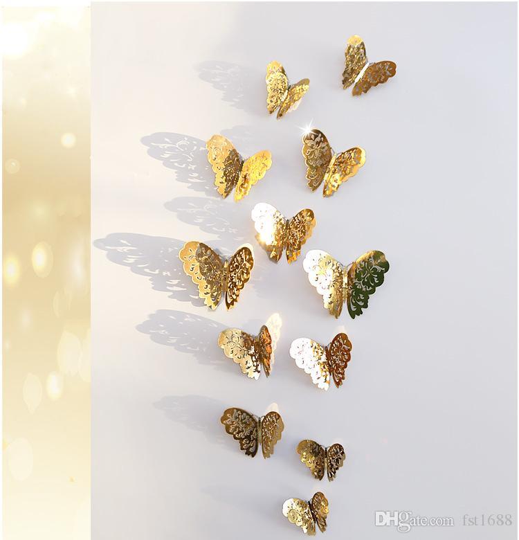 Metallic sense 3D PVC Wall Stickers Butterflies Hollow DIY Poster Kids Rooms Art Creative Home Decoration Party Wedding