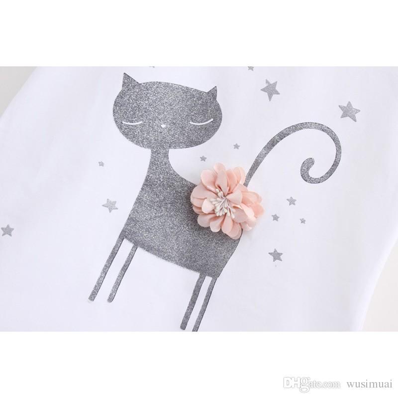 Coréia Gato Bonito Dos Desenhos Animados Padrão Baby Girl Dress Set Conjuntos de Duas Peças para o Bebê Menina Crianças Roupas de Verão Vestido