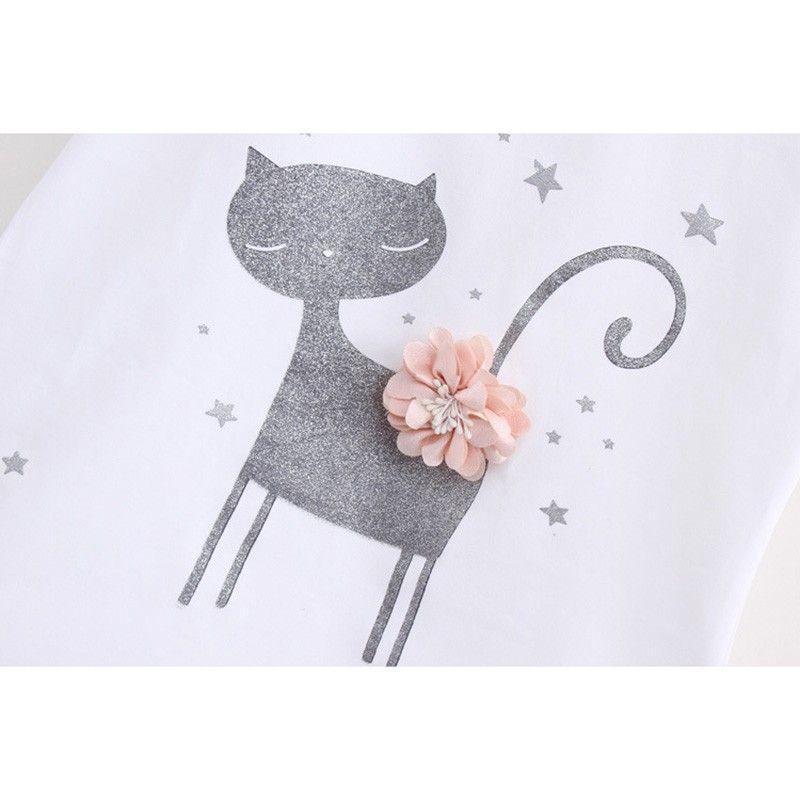 Corea Cute Cat Cartoon Pattern Baby Girl Dress Set Set due pezzi la neonata Little Kids Clothes Summer Dress