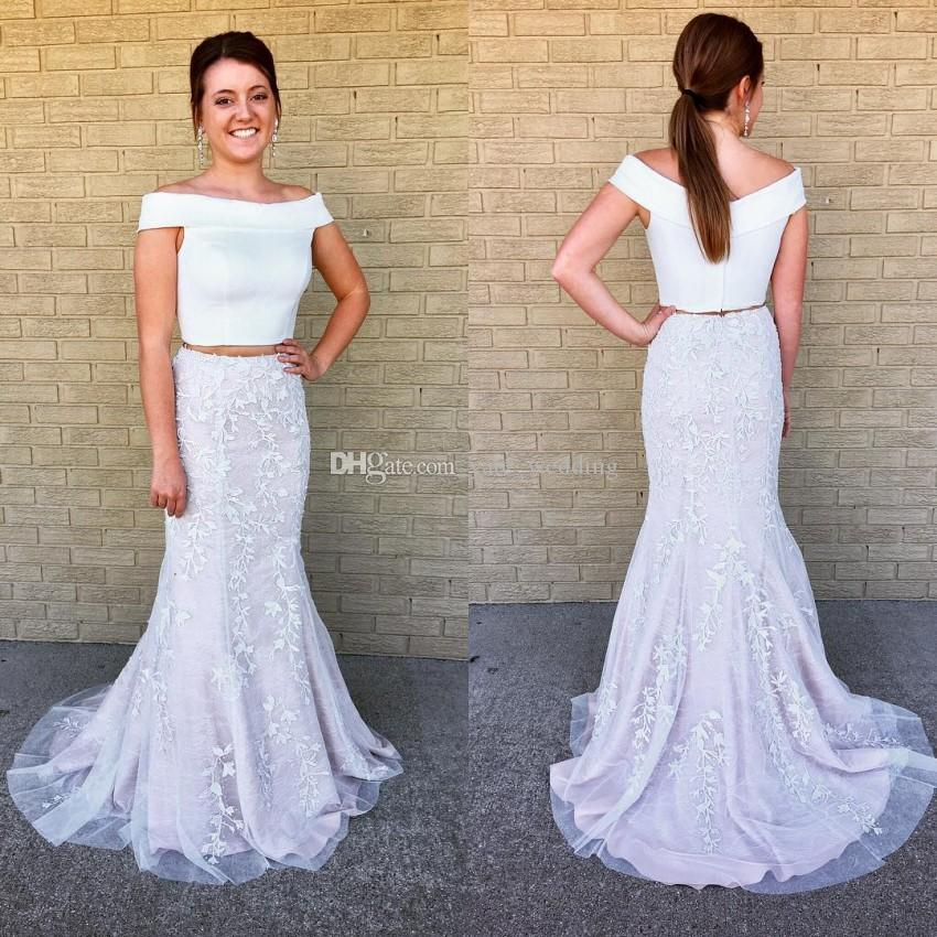 8a65085c492 Two Piece White Mermaid Prom Dresses 2018 Newest Off Shoulder Satin Lace  Long Prom Dresses Homecoming Dresses Graduation Dress Prom Dresses Under  150 Prom ...