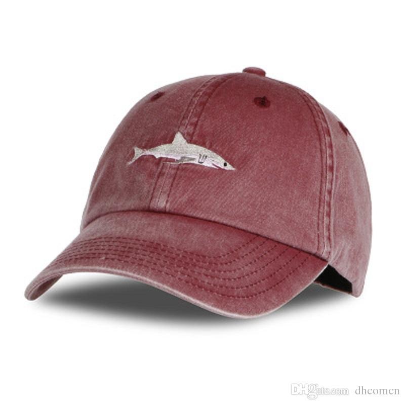 9c810f4a09f Cotton Wash Casquette Baseball Caps Outdoor Sports Men Hats Shark ...