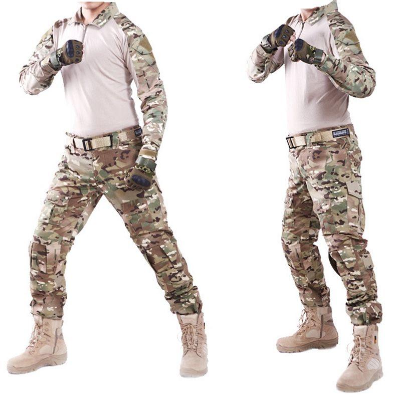 2f0a67241ad Compre SWAT Camuflaje Táctico Uniforme Traje De Vestir Hombres Ejército De  Los EE. UU. Multicam Camisa De Combate De Caza + Cargo Pants Codo De  Rodilla ...