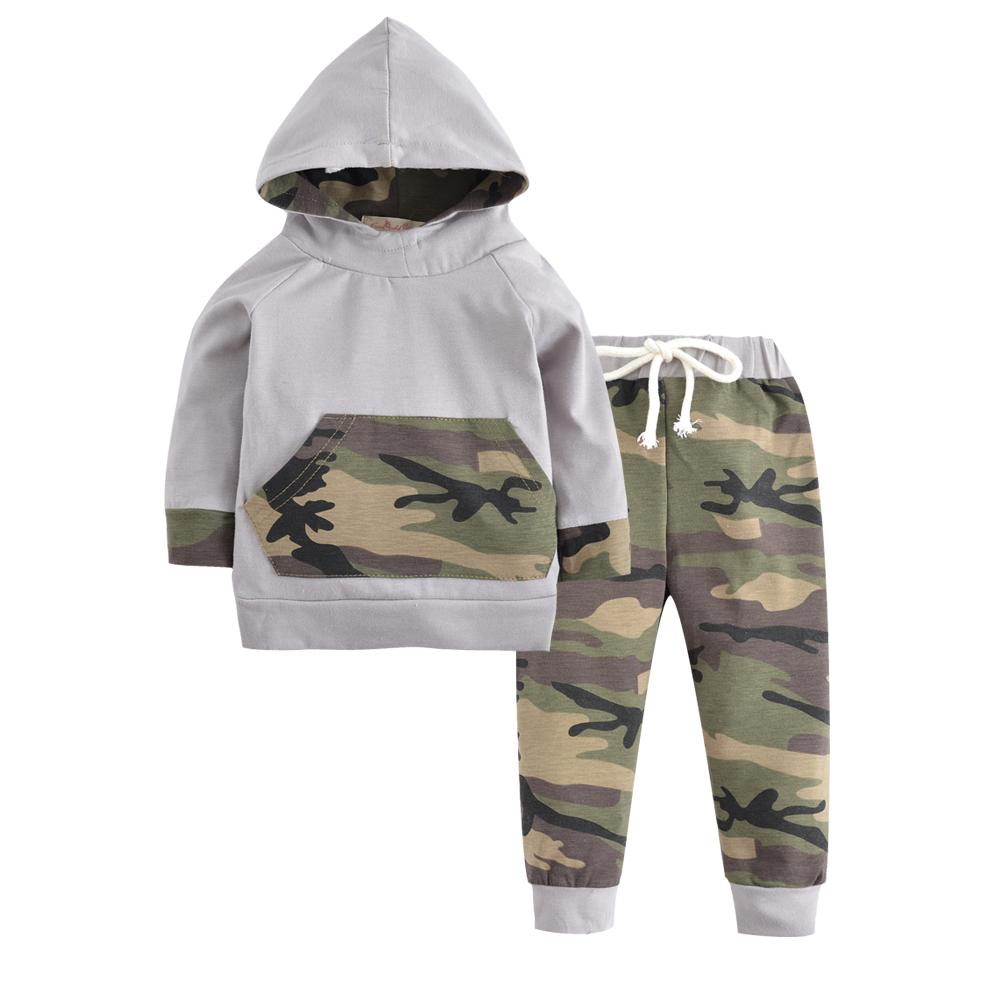 0e51548f1 2019 New 2018 Autumn Newborn Baby Boys Girls Clothes Camouflage Long Sleeve  Hooded Tops+Army Green Pants Toddler Infant Clothing Set From Xunqian, ...