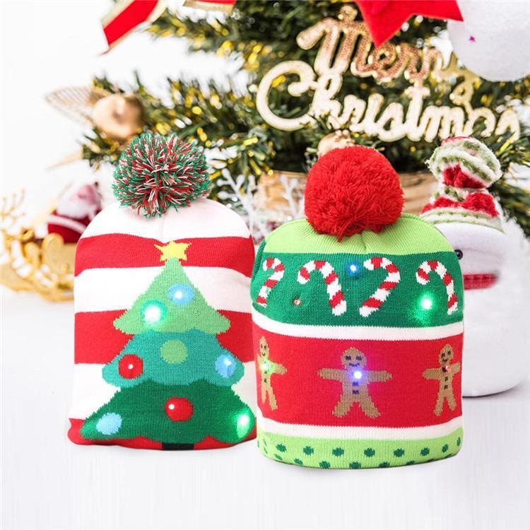 e4958924a8080 LED Christmas Hat Knitted Hat Beanie Crochet Warm Fashion Wool Cap ...