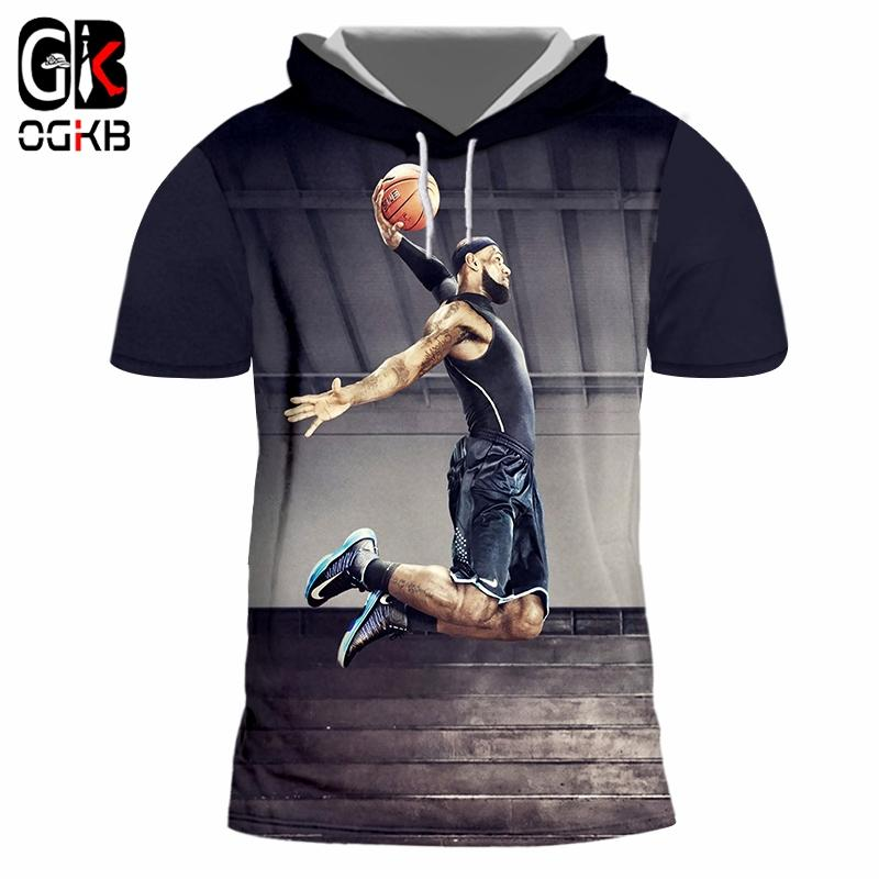 4624b9be OGKB Hooded Tee Shirt Mens Short Sleeve 3D Tee Shirt Printing Basketball  Super Slmas Funny Oversized Tops Tees Men Hat T Shirt T Tee Shirts Online  Shopping ...
