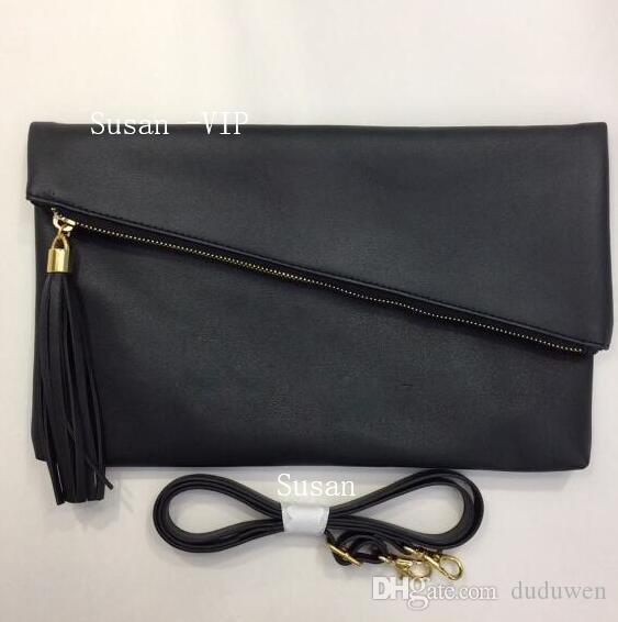 نمط غي الجديدة ~ الفاخرة PU حقيبة يد مصمم مع شرابة حقيبة الكتف أزياء كلاسيكية حقيبة ماكياج بولي أو اللون الأسود هدية مكافحة VIP