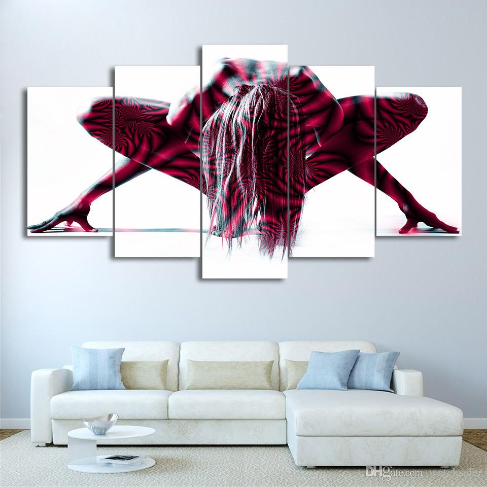 HD Printed Canvas Art Nude Woman Painted Body Art Painting Wall Pictures for Living Room NY-7156B