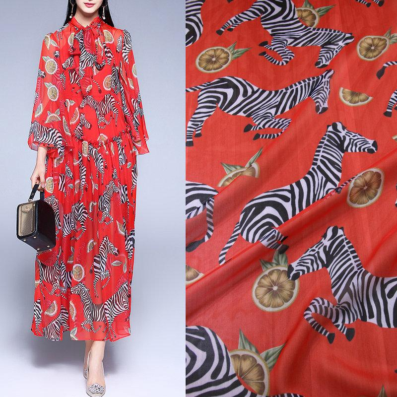1 Meter Red Color Zebra Printed Thin Chiffon Fabric Soft Fabric For ...