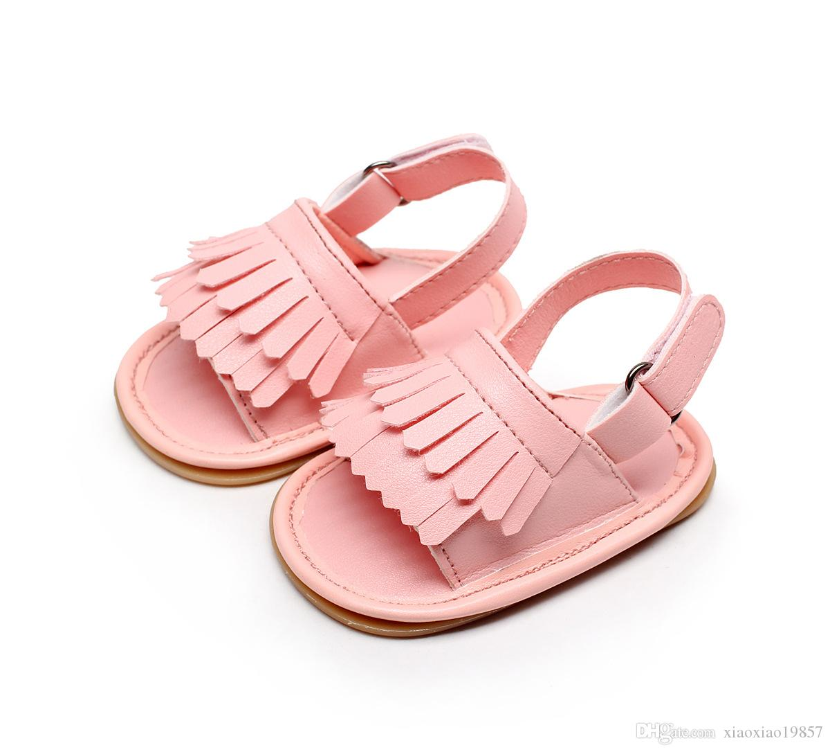 Baby Sandals Summer Newborns Leisure Baby Girls Sandals of Children PU Tassel Clogs Shoes Toddlers Infant Sandals
