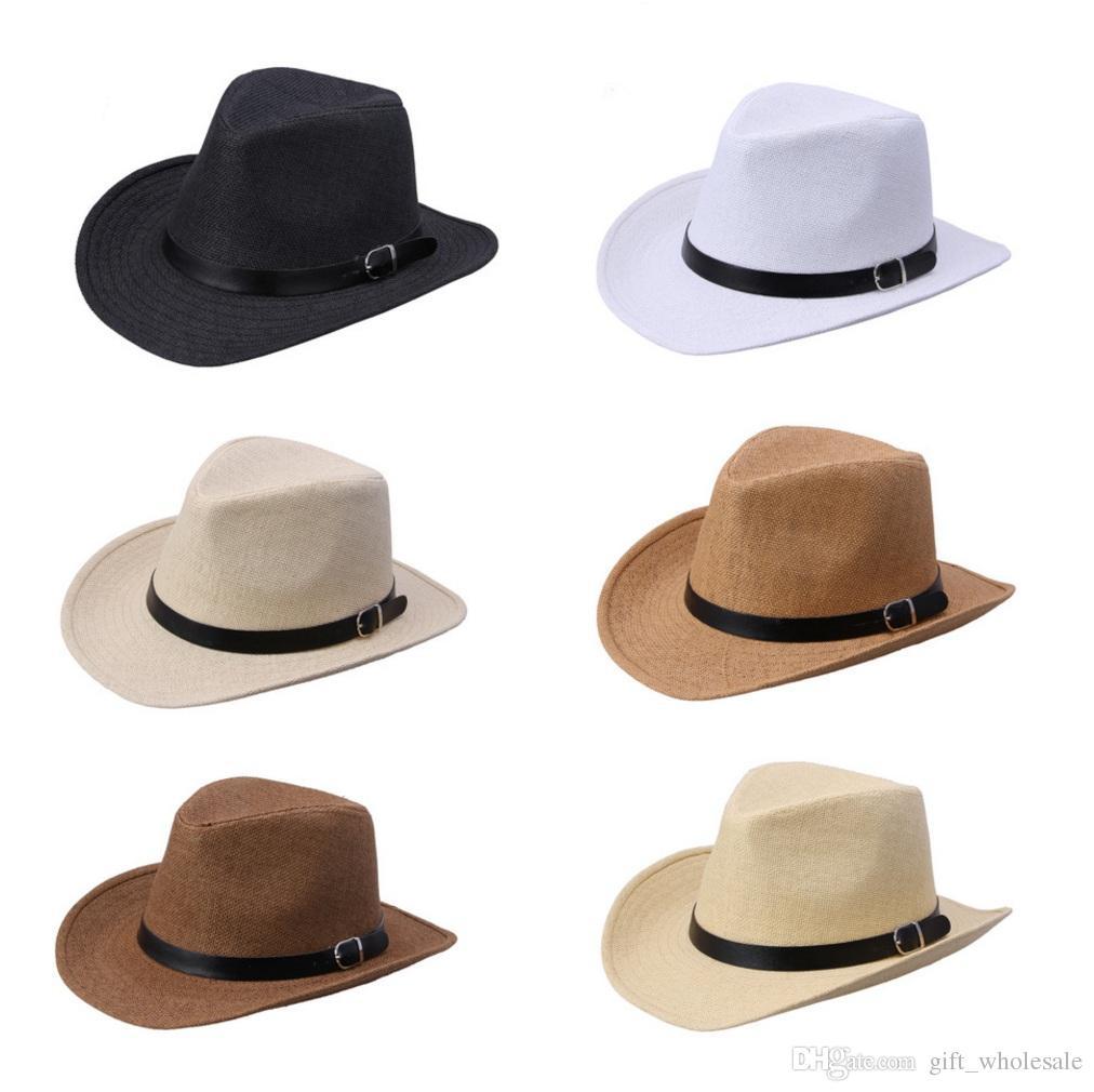 Compre Novo Verão Sólida Chapéu De Palha Com Cinto De Couro Designer De  Cowboy Chapéu Panamá Cap Verão Sun Beach Caps Pescador Jazz De  Gift wholesale e1bb378b7c9