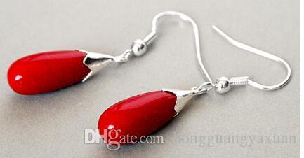 Neue Paar rote Koralle 925 Sterling Silber Haken Teardrop Ohrringe