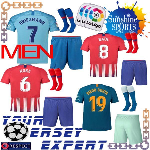 b8ebaee122e ... wholesale atletico madrid soccer jersey men set 18 19 home away third  ucl koke griezmann saul