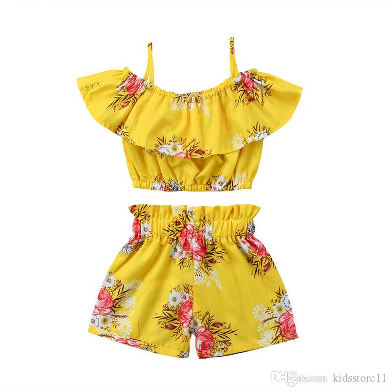 2018 New Baby Girls Outfits Flower Shorts Children Clothing Sets Fashion Summer Kids Clothes Printed Ruffle Tops + Shorts Suits