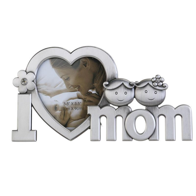 I Love Mom Metal Picture Photo Frame Home Decoration Silver Frame
