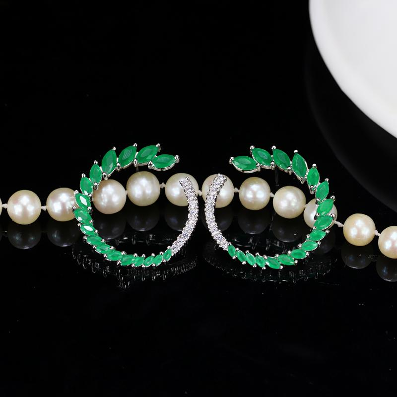 CWWZircons Designable Fashion Brand Jewelry Green CZ Stone 925 Sterling Silver Big Post Stud Earrings For Women CZ109
