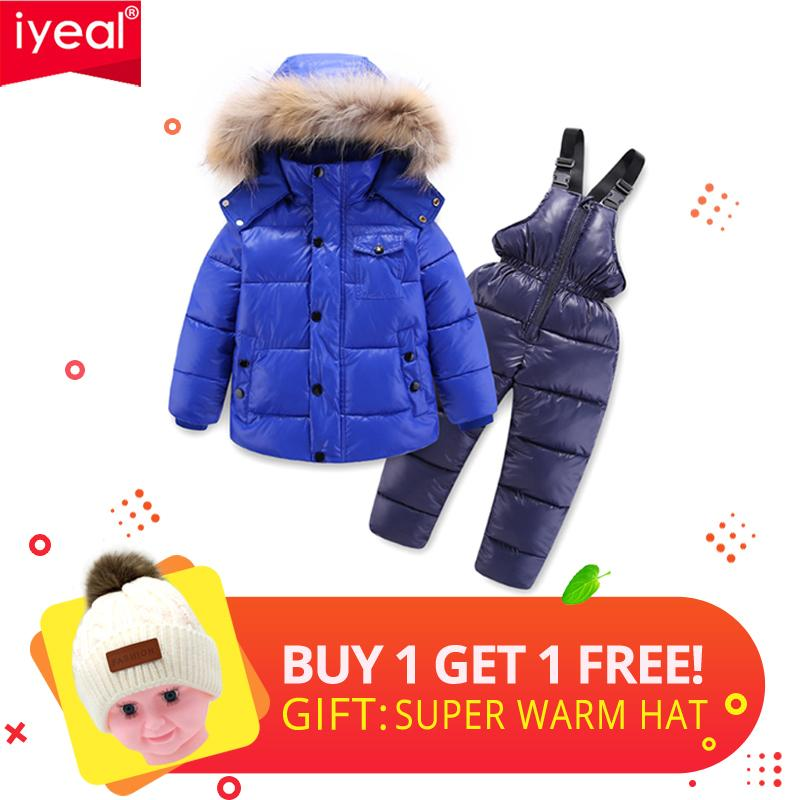 7079e0a64ea0 IYEAL Winter Children Clothing Set For Boy Down Cotton Parkas Jacket Coat  +Overalls Warm Windproof Snowsuit Toddler Kid Ski Suit Y18102607 Down Jacket  For ...