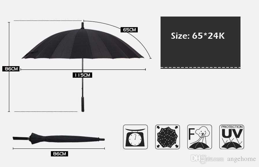 Golf Umbrella, Large Windproof Umbrella Parasol for Men Women, Wind Resistant Black Umbrella Rain Umbrellas, Stick Umbrella with Cover