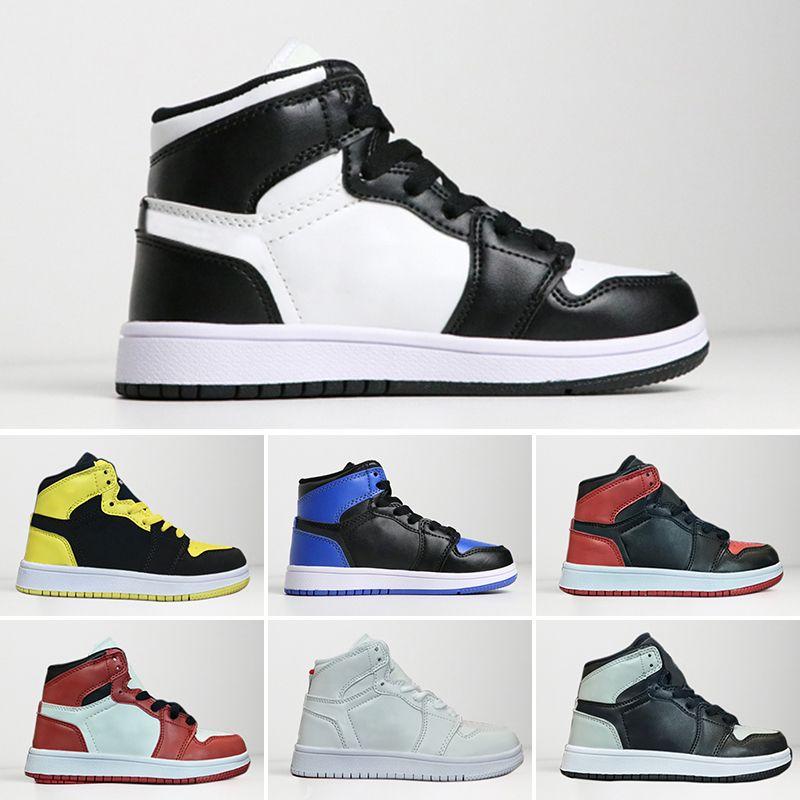 2f630b5f77 Großhandel Nike Air Jordan 1 Retro Kinder Schuhe OG 1 1s Basketball Schuhe  Kinder Jungen Mädchen 1 Top 3 Gezüchtet Schwarz Rot Weiß Turnschuhe Kinder  ...