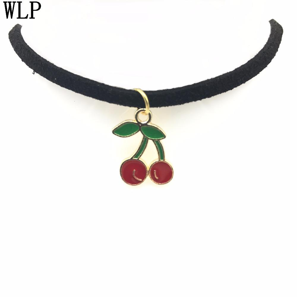 5816c9965ebd1 WLP Fashion Statement Necklace Women Personalized Custom Necklace Leather  Choker Cherry Pendant Handmade Jewelry Birthday Gift