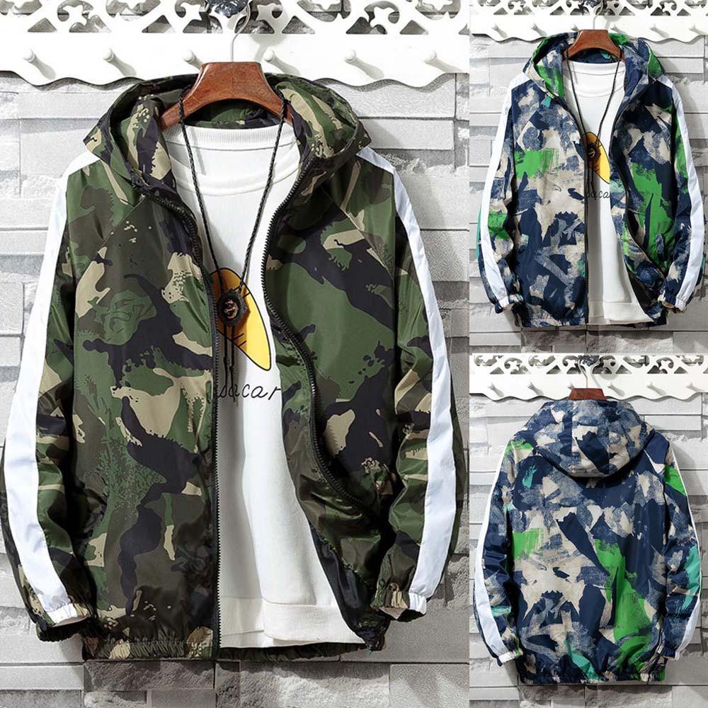 a17cac2f07829 Camouflage Pocket Hoodies Jacket Mens Autumn Winter Zip Long Sleeve Sport  Coat #1816 Man Jackets Blue Ja From Topcoat, $58.15  DHgate.Com