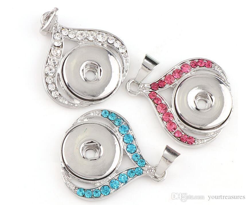 12 Stücke Trendy Fabrik 18mm Druckknöpfe Vintage Herz Snaps Button Kristall Strass Anhänger DIY Halskette Schmuck Charme