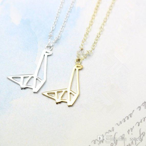 Оригами динозавр жираф кулон ожерелье ювелирные изделия простой длинная шея животных ключицы аксессуар подарок для друга