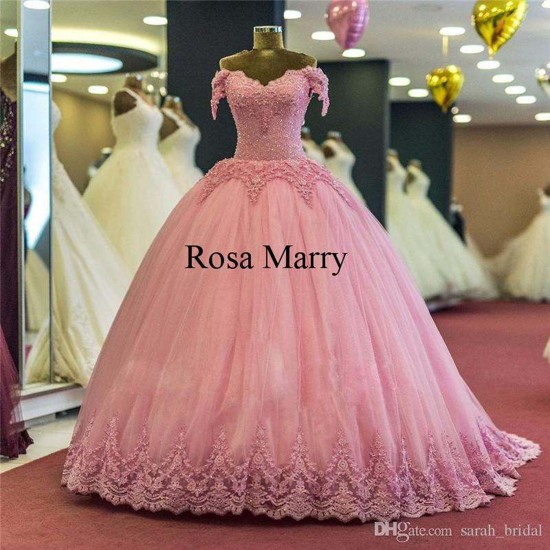 83cc428d0d Luxury Pink Ball Gown 2018 Prom Dresses Off Shoulder Vintage Lace Sequined  Beaded Princess Arabic Dubai Quinceanera Evening Party Gowns Short Poofy  Prom ...