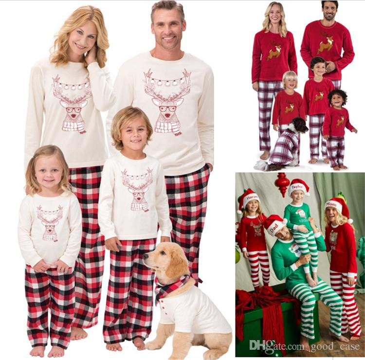 Xmas Kids Adult Family Matching Pajamas Christmas Deer Elk Plaid Striped Sleepwear  Set Santa Claus Parent Child Nightwear Bedgown Best Clothes For Family ... 0a154f81e