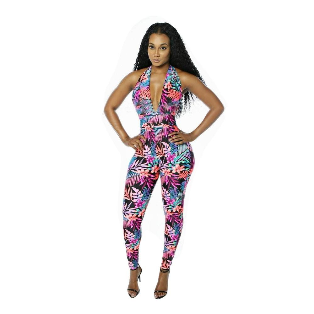 2018 Autumn Skinny Bodysuit Fashion V Neck Slim Print Playsuit Women  Macacao Elasticity Fitness Backless Jumpsuit Jumpsuit Online with  32.93  Piece on ... 30eabf8e6