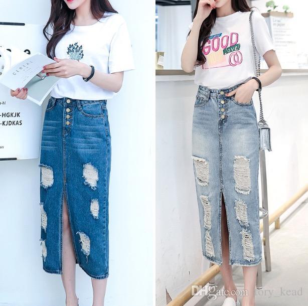 2018 Frühling Sommer Herbst Mode Frauen lange Jeansrock lässig plus Größe Maxi Röcke Vintage Jeans Hem Split Bleistiftröcke
