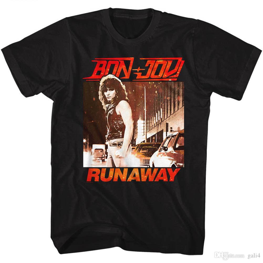 Bon Jovi Runaway Licensed Adult T Shirt Sleeve Tops T shirt Homme Top Tee