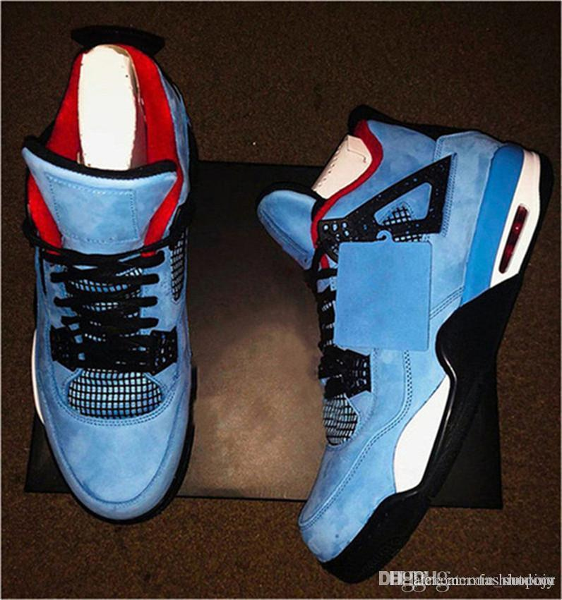 149ab4d7a315 2019 2018 Newest Release Travis 4 Houston 4S Cactus Jack IV Blue Basketball  Shoes Limited Sneakers Real Quality 308497 406 From Mic outdoor