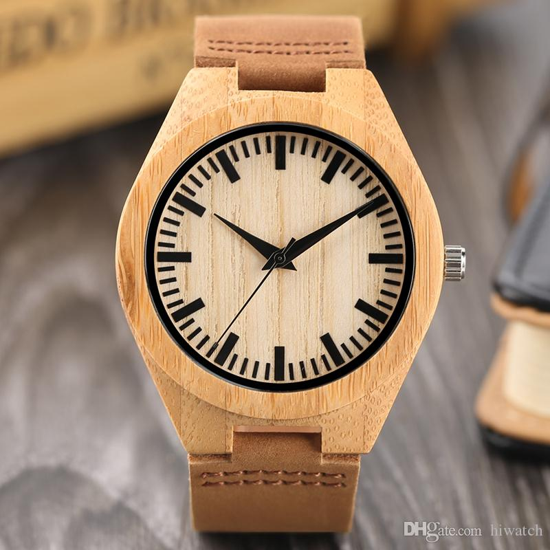 Women Simple Design Wood Watch Quartz Watches With Genuine Leather