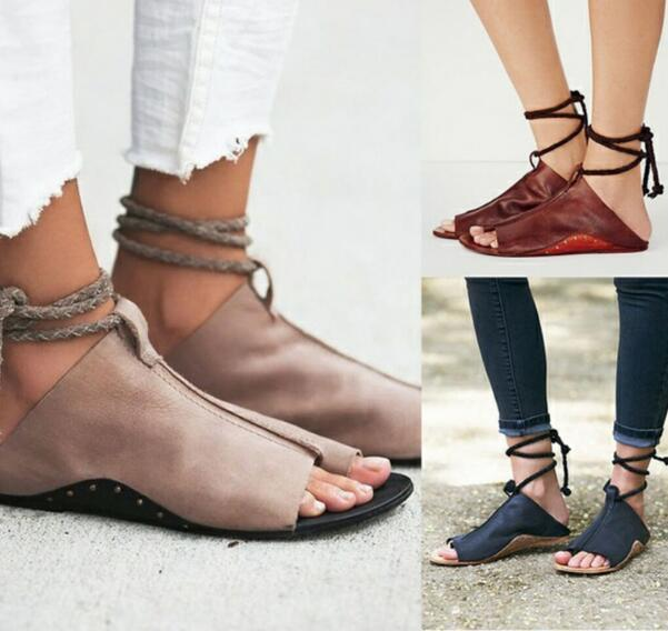 52a56c9d3c0 2019 Summer Sandals Women Flats Ladies Shoes Woman Ankle Strap Wedding  Chaussure Femme 2018 Lace Up Fashion Home Shoes From Hopestar168