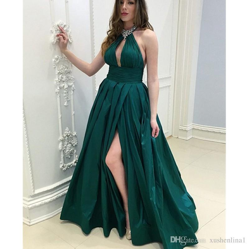 Anlässe Split Taft Maß Hoch Kleid Abendkleid Formal Rückenfreies 2018 Besondere Dunkelgrünes Nach Neckholder Perlen Schlüsselloch Langes NOnwv0m8