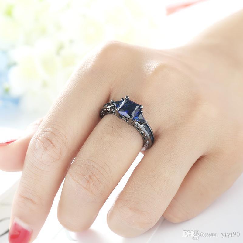 Broche Fashion Bleu Saphir Cubic Zircon Or Noir Plaqué Bague Taille 6/7/8/9/10 Femmes Bijoux Fiançailles