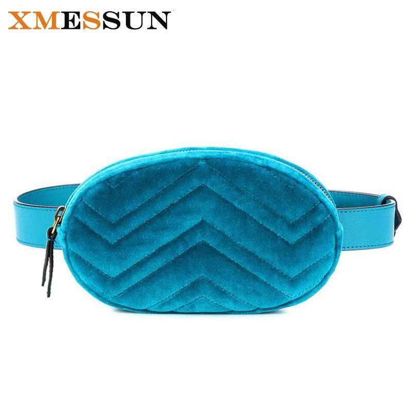 59599111ec63 Waist Bag Women Velour Waist Fanny Pack Bags Luxury Brand Fashion Leather  Velvet Belt Bag Red Blue Black 2018 Hight Quality