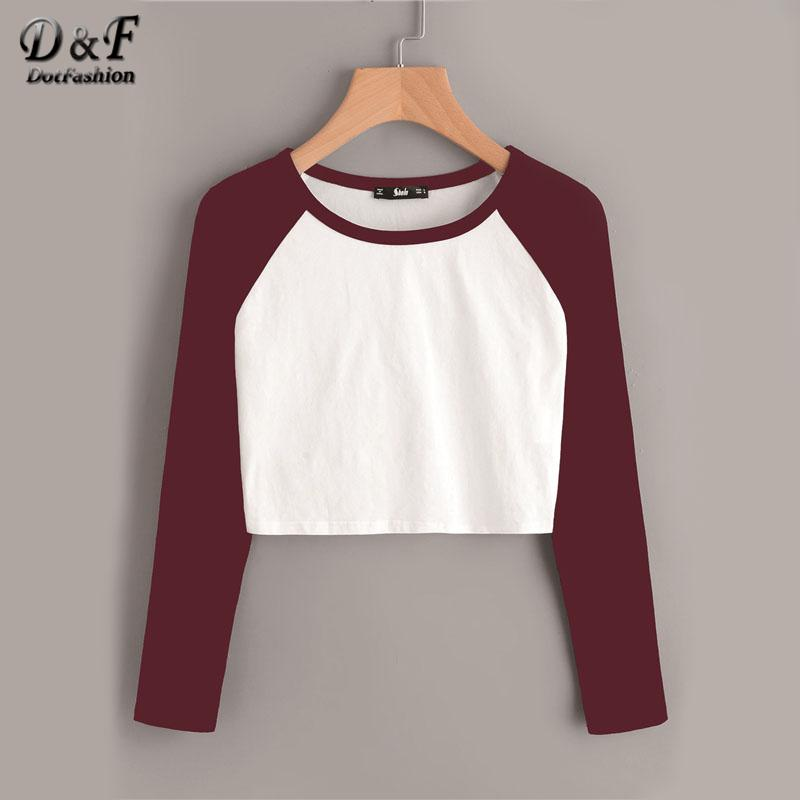 Dotfashion Contrast Raglan Sleeve Crop T-shirt 2017 Round Neck Women Long  Sleeve Top Autumn Color Block Casual T Shirt